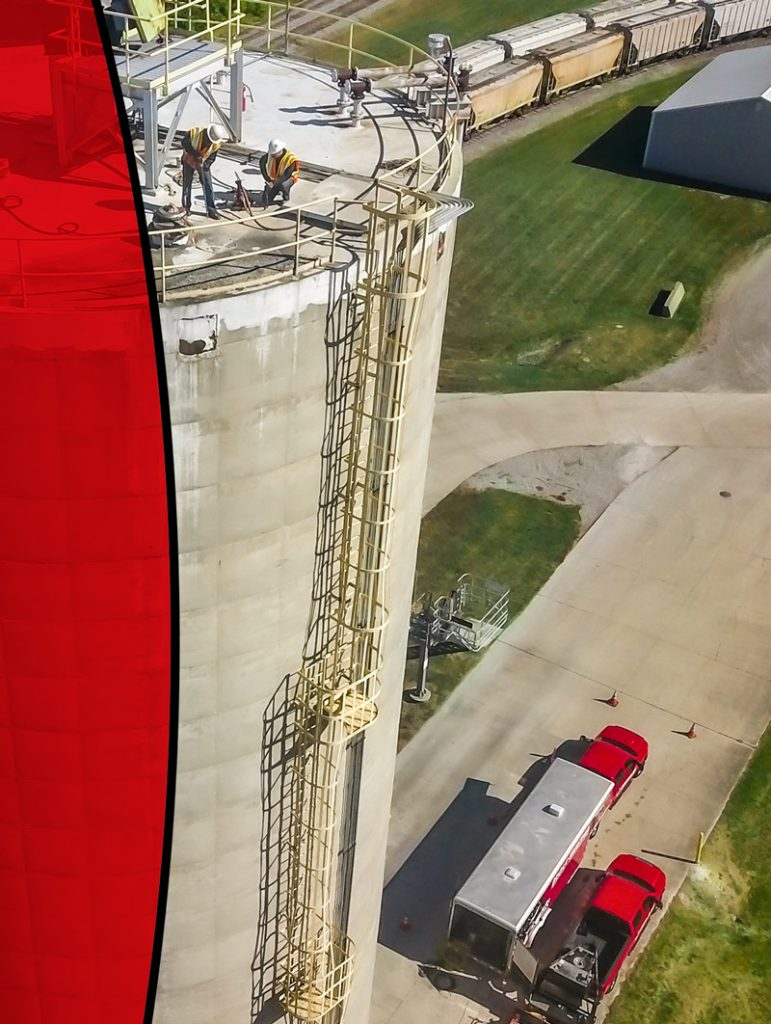 Drone photography of a cement silo inspection